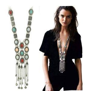 Jewelry - Vintage Retro Rhinestone Turquoise Long Boho Nckl.